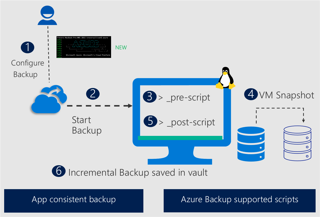 Diagram showing Linux application-consistent snapshot by Azure Backup.
