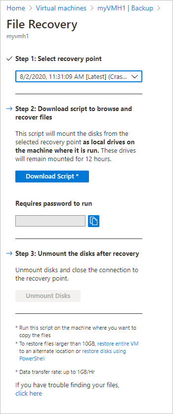 Azure Backup: Recover files and folders from an Azure VM