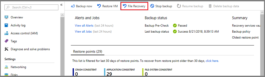 Azure Backup: Recover files and folders from an Azure VM backup