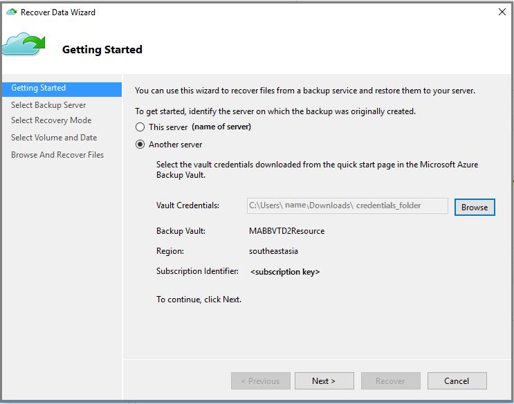 Restore data in Azure to a Windows server or Windows