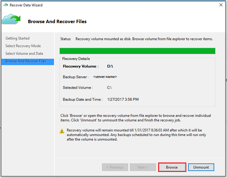 Restore data in Azure to a Windows server or Windows