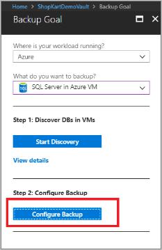 Select Configure Backup