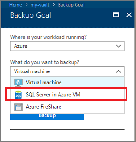 Select SQL Server in Azure VM for the backup