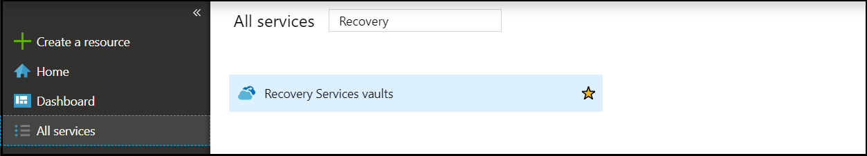 Create Recovery Services Vault step 1