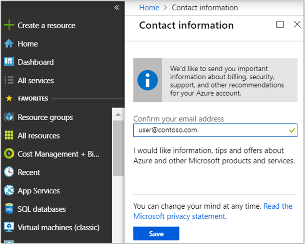 Change the profile information for your Azure account