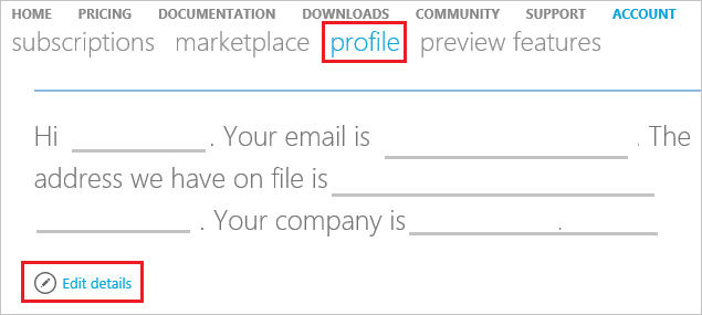 change your azure account profile information microsoft docs