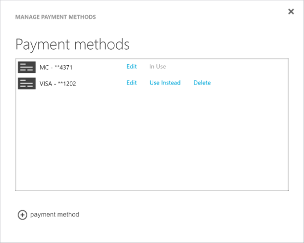 Change your credit card for azure microsoft docs screenshot that shows the edit option next to the payment method enter credit or debit card reheart Image collections