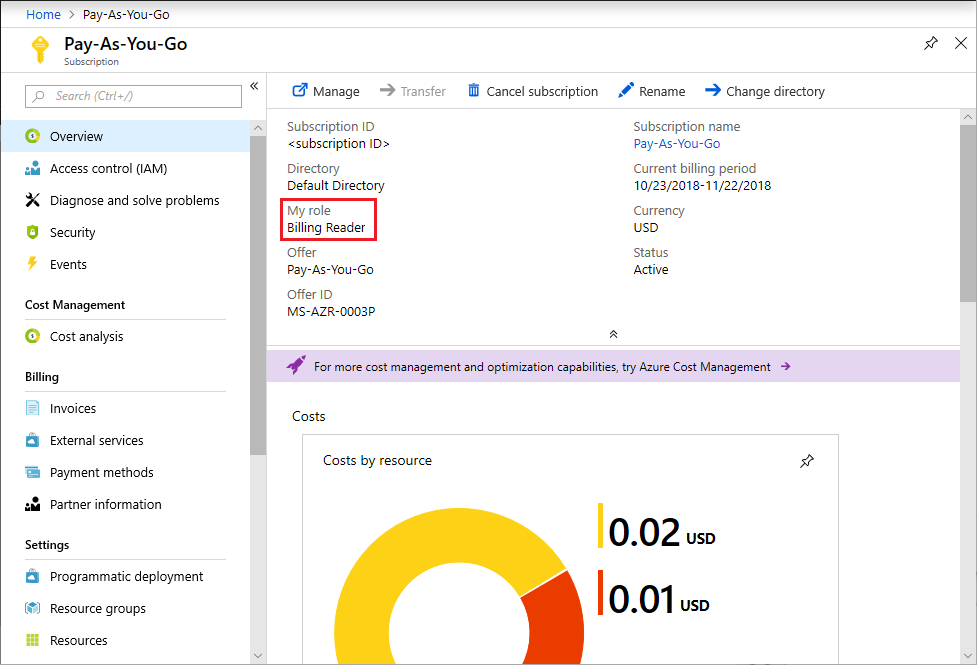 Screenshot that shows what the Billing Reader can see in Azure portal