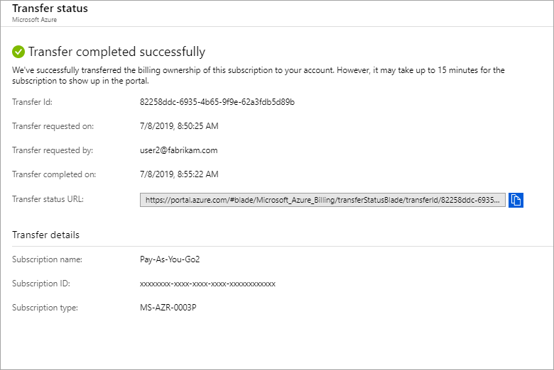 Transfer billing ownership of Azure subscription to another