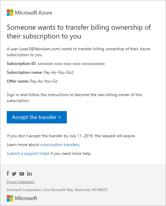 Transfer billing ownership of Azure subscription to another account