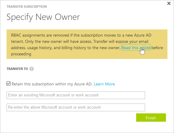 Transfer Azure Subscription Ownership To Another Account Microsoft
