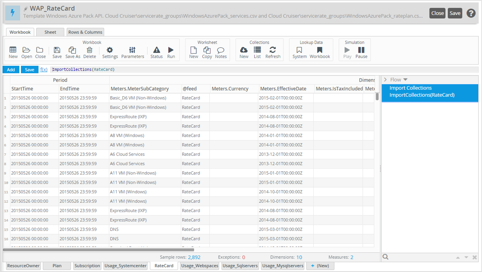 Cloud Cruiser and Microsoft Azure Billing API Integration – Sample Rate Card
