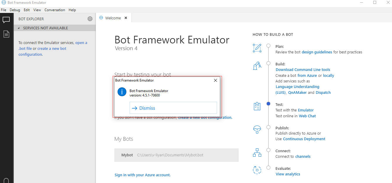 Debug a bot with inspection middleware - Bot Service