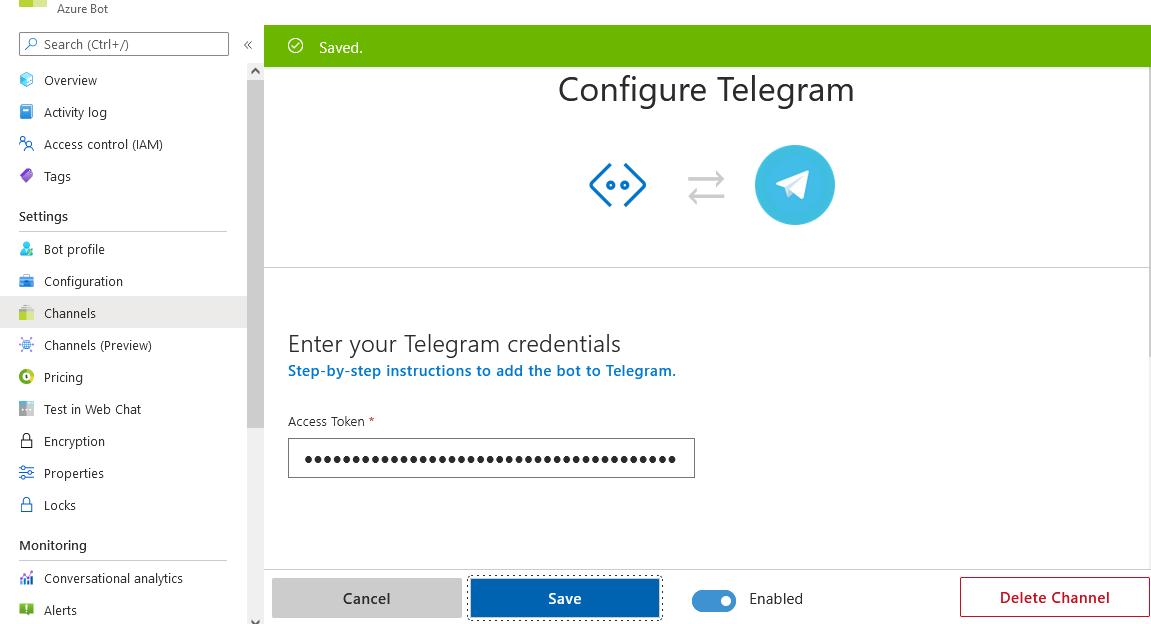 Create a bot for Telegram - Bot Service | Microsoft Docs