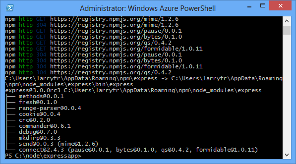 Build and deploy a Node js Express app to Azure Cloud