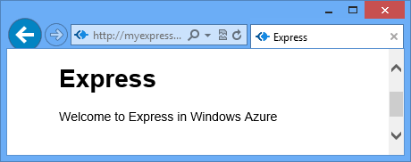 A Web Browser Displaying The Express Page URL Indicates It Is Now Hosted On