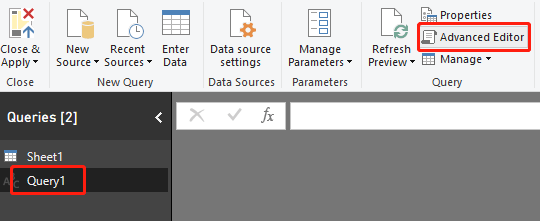 "An image of the ""Advanced Editor"" button in Power BI"