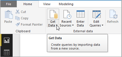 "An image of the ""Get Data"" button in Power BI"