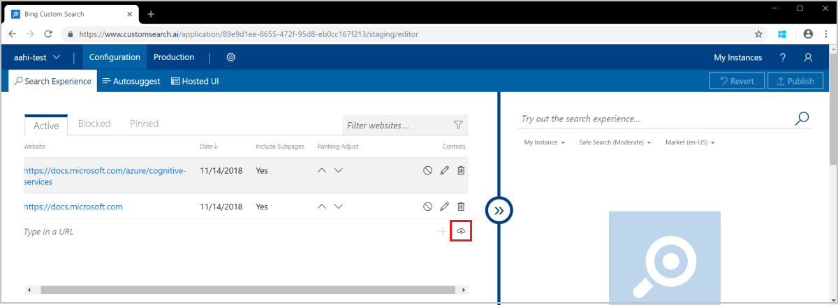 Configure your Bing Custom Search experience - Azure