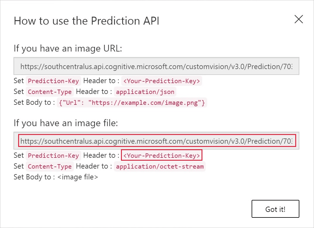 Use prediction endpoint to programmatically test images with