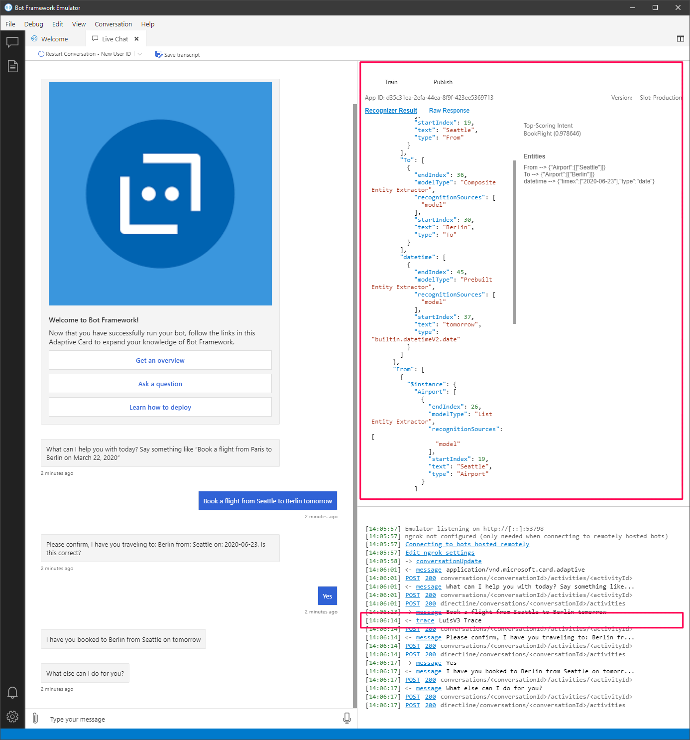 Language Understanding Bot Node js v4 - Azure Cognitive Services