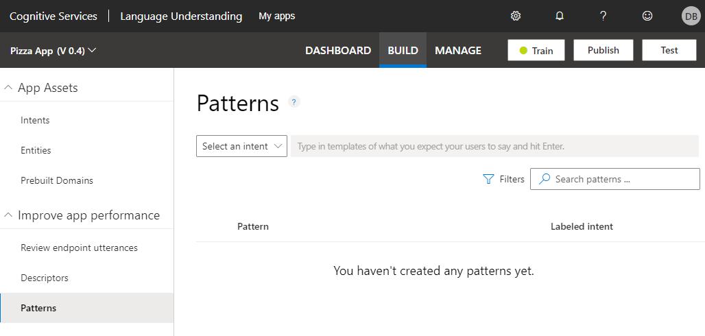 add pattern templates in luis apps azure microsoft docs