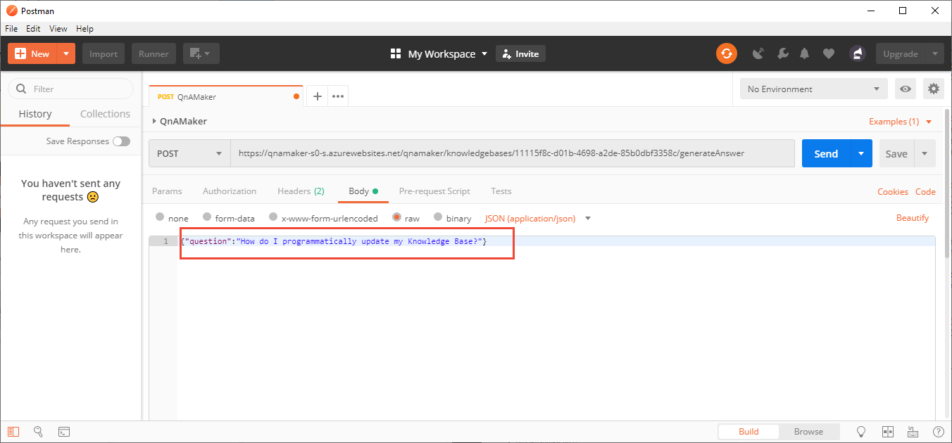 Quickstart: Use Postman to get answer from knowledge base - QnA