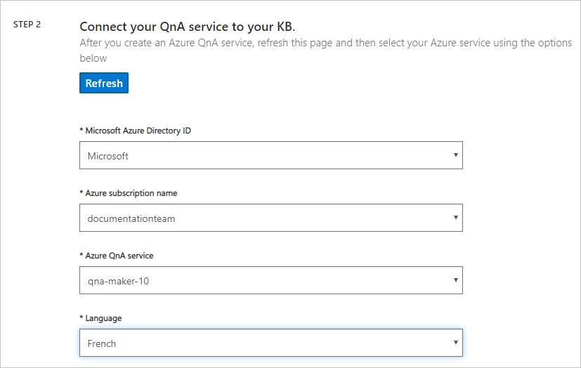 Select a QnA service KB