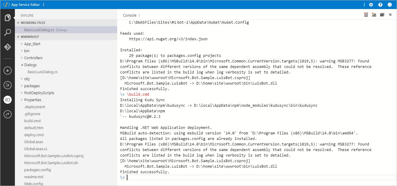Luis And Qnamaker Bot Integration Azure Cognitive Services Click Image For Larger Versionnameimg1634jpgviews268size638 Kbid Console Build