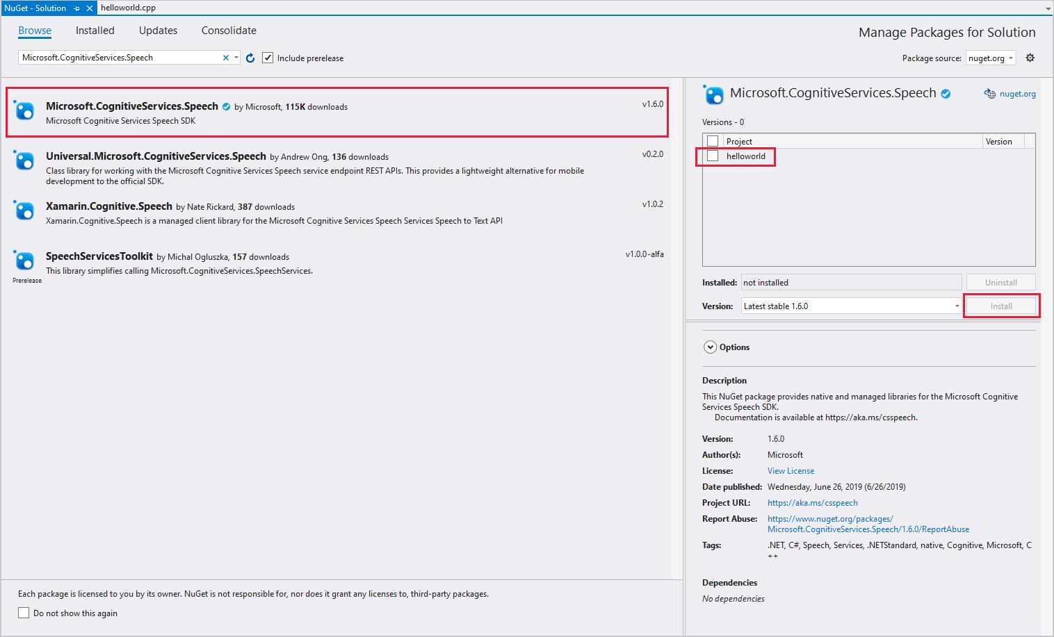 Quickstart: Recognize speech, C++ (Windows) - Speech Service