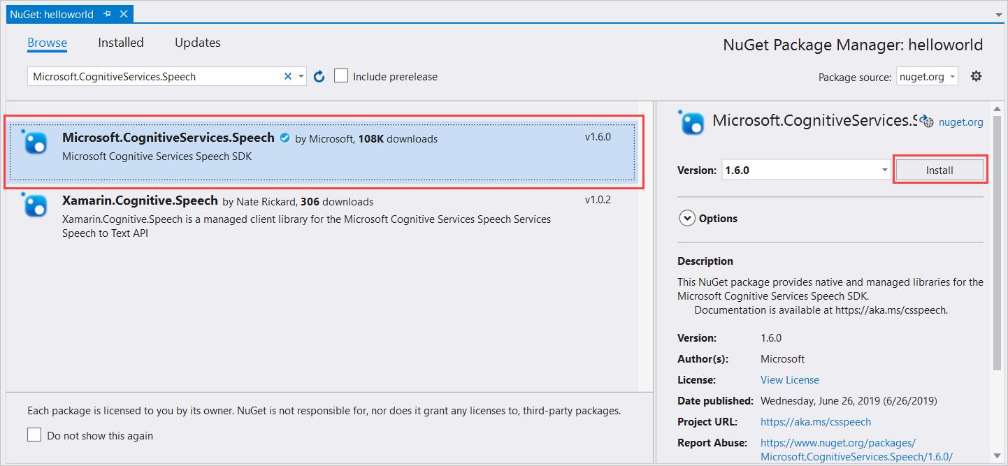 Quickstart: Recognize speech,  NET Framework (Windows