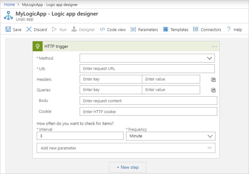 Enter HTTP trigger parameters