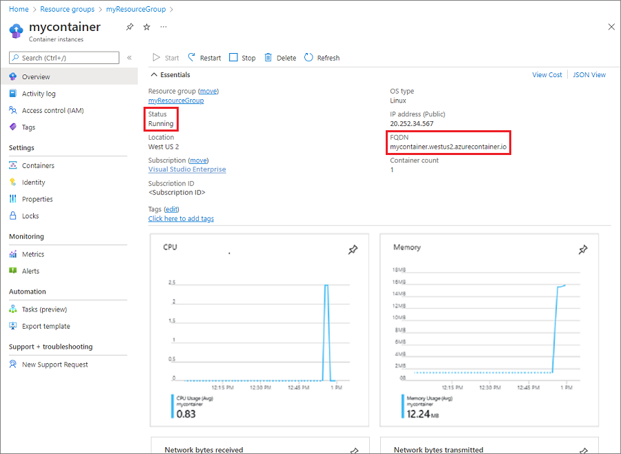 Container group overview in the Azure portal