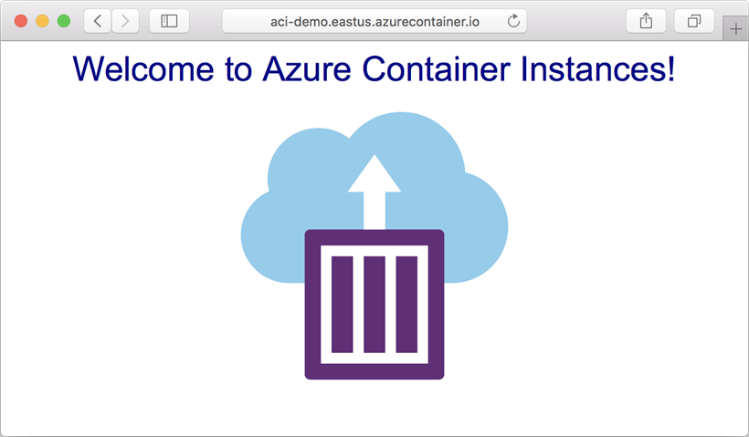 View an app deployed to Azure Container Instances in browser
