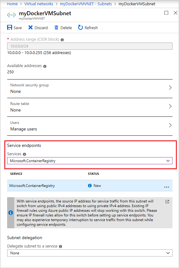 Restrict access to an Azure container registry from a virtual