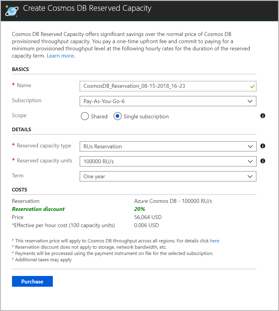 Prepay for Azure Cosmos DB resources to save money | Microsoft Docs