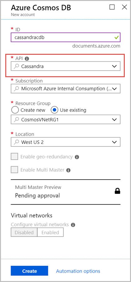 Tutorial: Create a Cassandra API account by using a Java app