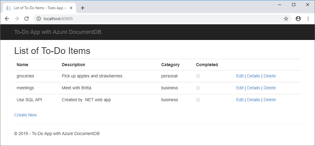 build a net web app with azure cosmos db using the sql api
