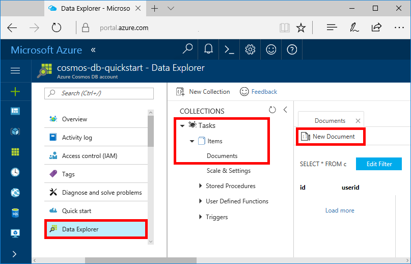 Build a net web app with azure cosmos db using the sql New website create free online