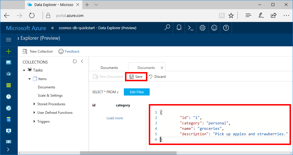 Build a net web app with azure cosmos db using the sql for Api document template