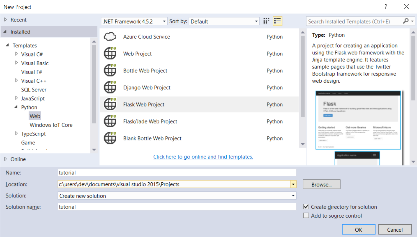 Screen Shot Of The New Project Window In Visual Studio With Python  Highlighted On The Left