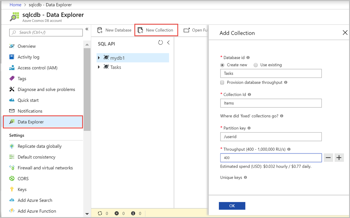 Create a container in Azure Cosmos DB | Microsoft Docs