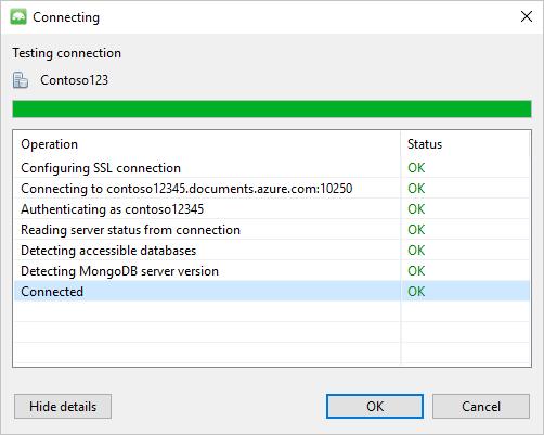 Connect to Azure Cosmos DB's API for MongoDB using Studio 3T