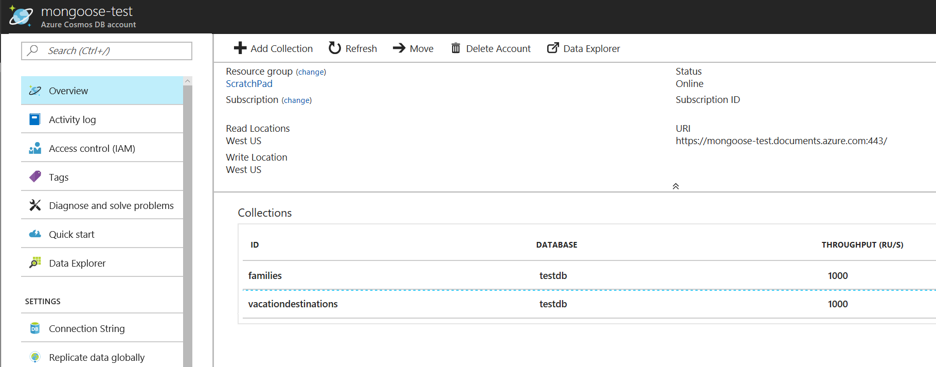 Connect a Node js Mongoose application to Azure Cosmos DB