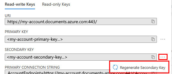 Screenshot of the Azure portal showing how to regenerate the secondary key