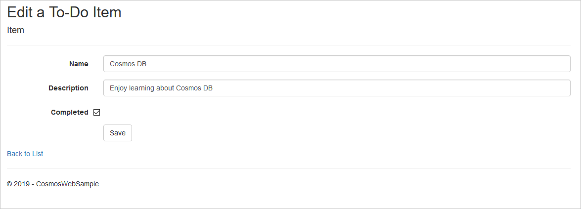 ASP NET Core MVC tutorial for Azure Cosmos DB: Web