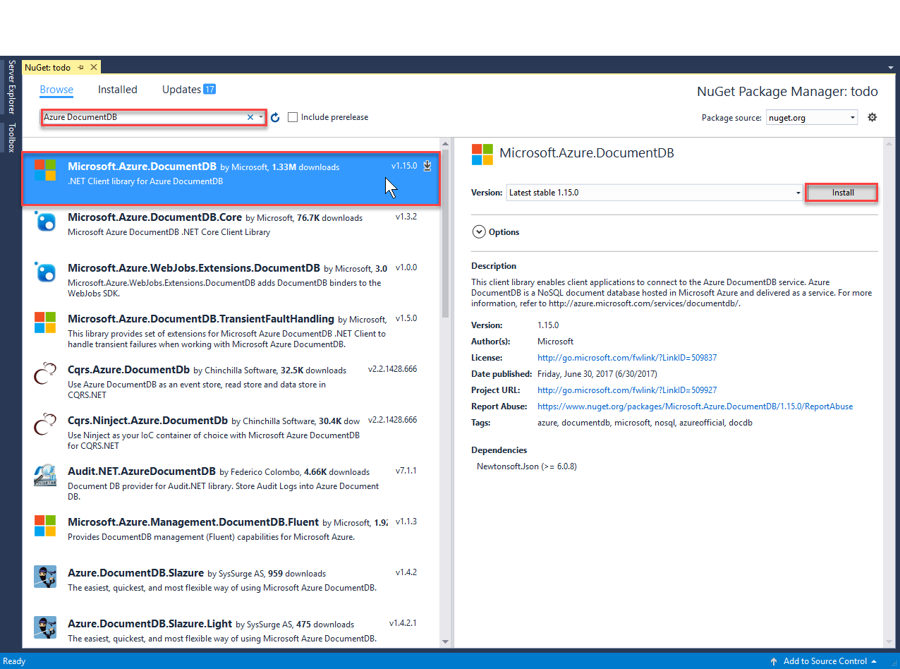 Asp mvc tutorial for azure cosmos db web application sreen shot of the manage nuget packages window with the microsoft azure cosmos db client baditri Gallery