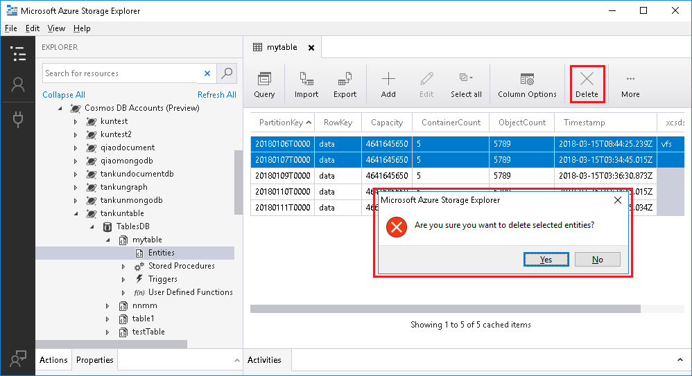 Manage Azure Cosmos DB resources using Azure Storage Explorer
