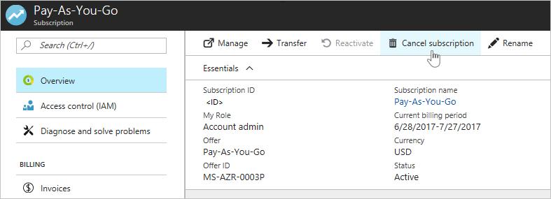 Assure how to cancel account Microsoft Assure