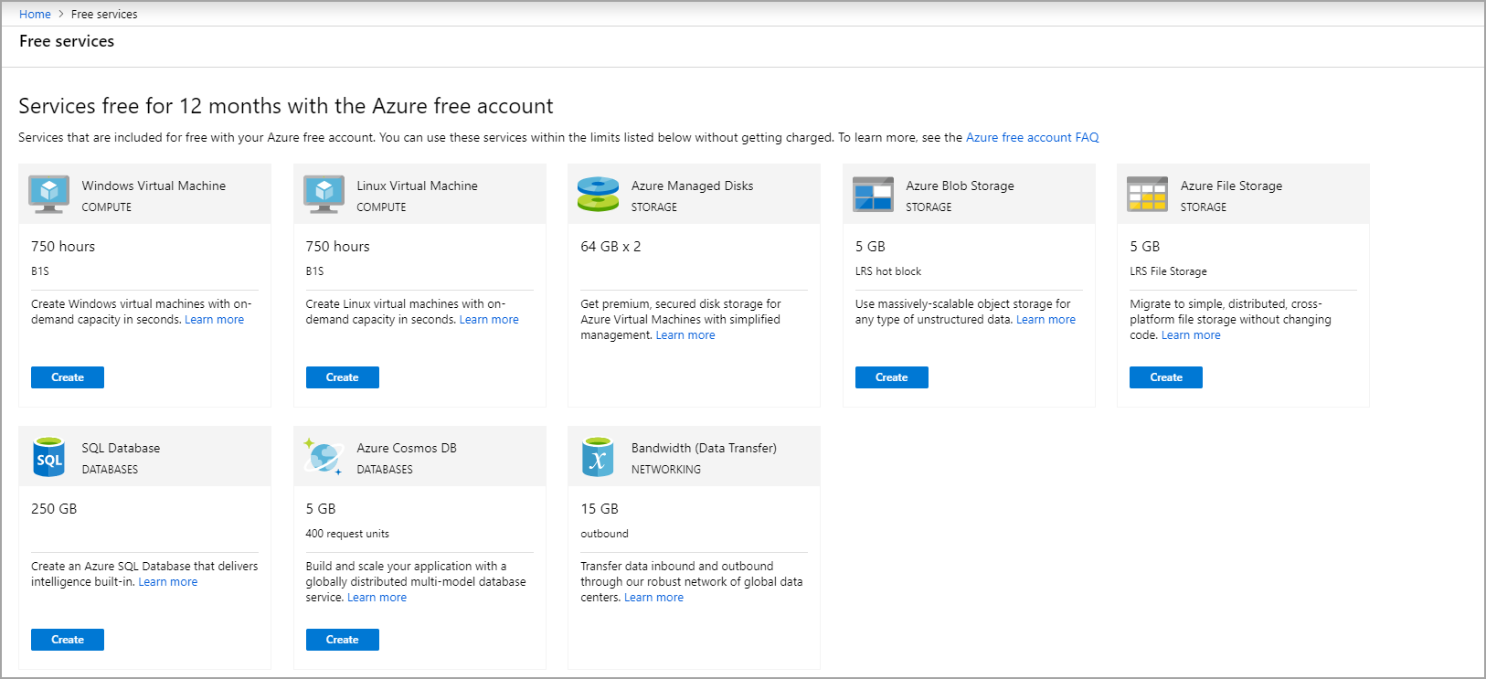 Create Free Services With Azure Free Account Microsoft Docs